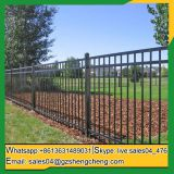 Tubular fence decorate with 3 rails for garden