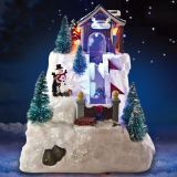 led village with lighting  Play Snowman Polyresin Christmas House Decoration