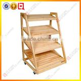 3 tier wood bakery display stand with wheels