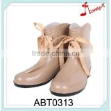 ribbon heeled nude plastic rain boots for rain