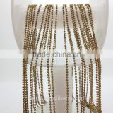 Bead metal brass chain 1.2mm spool cutting designs made of brass can plated gold or silver for door curtain decorative