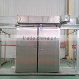 double-leafed sliding cold room door with stainless steel
