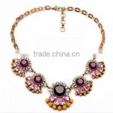 2015 Europe pink Flower necklaces fashion exaggerated crystal short statement Necklace For Women christmas necklaces