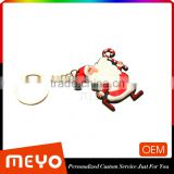 Engarved Logo PVC Metal Alloy Cheap Bulk Keyring Keychain Santa Claus Door Christmas Decorations