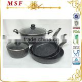 MSF korean kitchenware marble coating 7pcs aluminum cookware MSF-6717                                                                         Quality Choice