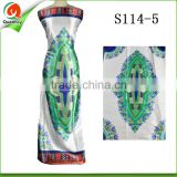 white and green pure silk printed wax fabric pattern high quality satin fabric in bangalore