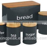 2015 New Product Tea Coffee Sugar and Bread Bin Set with bamboo lids/Sugar Jar/Coffee Storage container
