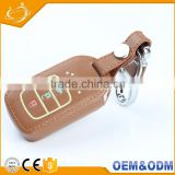 Competitive Price OEM Welcome Brown PU Leather 3 Fluorescent Bottons Flip Car Key Smart Holder For Honda