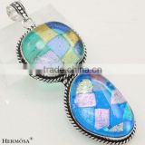 Freedom Shape Mosaic Dichroic Glass 925 Sterling Silver Gemstone Pendant 3 3/8''