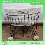 Factory wholesale oval iron metal chicken wire storage basket with wheel & liner