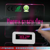 Hot sale LED green digital alarm clock with message board and fluorescent pen