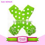 Lime With White Polka Dot Ruffle Cotton Baby Legwarmers Winter legwarmers
