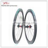 Carbon clincher wheels cyclo cross 50mmx25mm bicycle wheelset with disc braking with DT 240S central lock hub