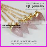 GZKJL-CT0286 New Terminal Crystal Rose Pink Quartz Nugget Bullet Pendant Necklace with real Gold Plated Chain