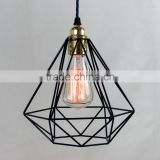 10.9-4 Modern diamond shaped cage pendant with decorative filament light bulb and coloured fabric cable Pendant Light