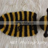 Newborn Cute Animal Costume Handmade Baby Boy Girl Bumble Bee Hat and Cocoon Swaddle Set Infant Photography Props