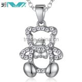 Sterling Silver Yellow Gold-Plated and White CZ Teddy Bear Pendant Necklace
