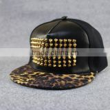 Hiphop snapback flat brim metal rivet baseball caps hats black grey PU material trucker mesh cap