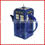 Blue booth shaped creative decorative tea kettles