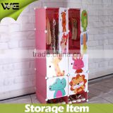 plastic storage wardrobe print lovely animals design,8 cube kids plastic wardrobe with 2 cube shoe shelf
