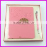 Pink color luxury design crystal ball pen and notebooks gift set for women