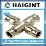 TY1730 Haigint high pressure copper push-in cross connector brass with nickel plated for nylon tubing and stainless steel tubing