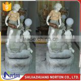 Carved lady and playing children colorful marble water fountain NTMF-016LI