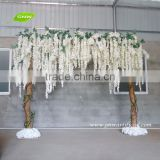 GNW FLA1603001-W01 New Design Beautiful Wedding Arch Silk White Wisteria With Wood Stand