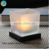 wholesale candle jars with metal lids Candle making Glassware medium square glass jar