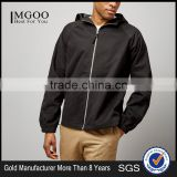 Mgoo Fashion 100% Cotton Black Hooded Jacket With Lining Casual Fit Balloon Sleeves Jacket Zipper Up