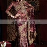 Latest Designer Plum Color Crystal Lehenga Saree 2016