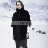 Simple Design Quality Stand Collar Mink Coat Winter Short Hair Mink Jacket Black Mink Fur Overcoat