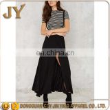 elegant front cloth button closure maxi skirt with adjustable suspender straps