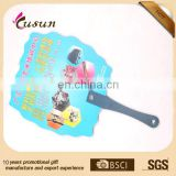 Printing pp hand fan promotion Beautiful colorful cheap custom print mini plastic hand fan