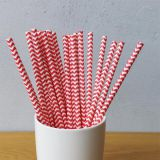 Red Chevron Striped Drinking Paper Straws