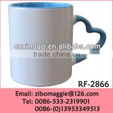 Straight Popular Colored Wholesale Ceramic Fishing Dinking Coffee Cup with Heart Handle
