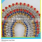 Fancy Rhinestone Chain Trimming Colorful Diamond Rhinestone Claw Chain Trim Sew on Technics