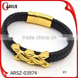 online shopping gold plating stainless steel jewelry man genuine magnetic leather bracelet