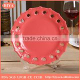 fashion hollow round shallow plate wedding ,ceramic restaurant dinner plate for wedding use plate or dish