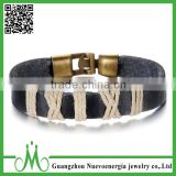 Men Women's Alloy Leather Bracelet Bangle Cuff Gold Black Surfer Genuine Leather Wristband