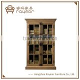 Double open doors French antique style wooden book cabinet