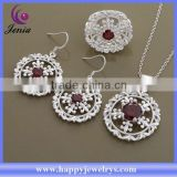 Alibaba express fashion jewelry red zircon set 925 silver plated indian jewelry set (AT564)