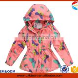 orange color Germeny style outerwear girl kids trench coat children's winter jackets