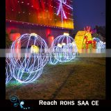 Outdoor led lights 3D motif light for xmas/large christmas scene decoration with 3D christmas balls and arch way gift box decor