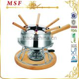 MSF-3565 Nice cheese & chocolate fondue set fancy wooden handle of pot & forks stay cool handles