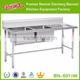 Stainless Steel Hand-made Restaurant Kitchen Double Sink Bench With Drain Board (SS201 Customized Size)