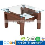 cheap glass top wood leg office coffee table