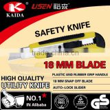 Plastic handle with rubber grip handle 18mm Snap Off Blade Utility Knife