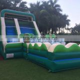 Double lane 0.55mm PVC tarpaulin inflatable jump slide dry slide sale for kids outdoor climbing
