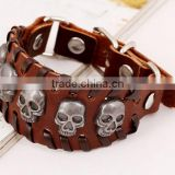Letter Bracelet Wristband Cuff Real Leather Bracelet For Men Women